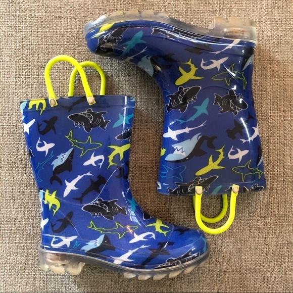 Lightup Toddler Shark Rain Boots